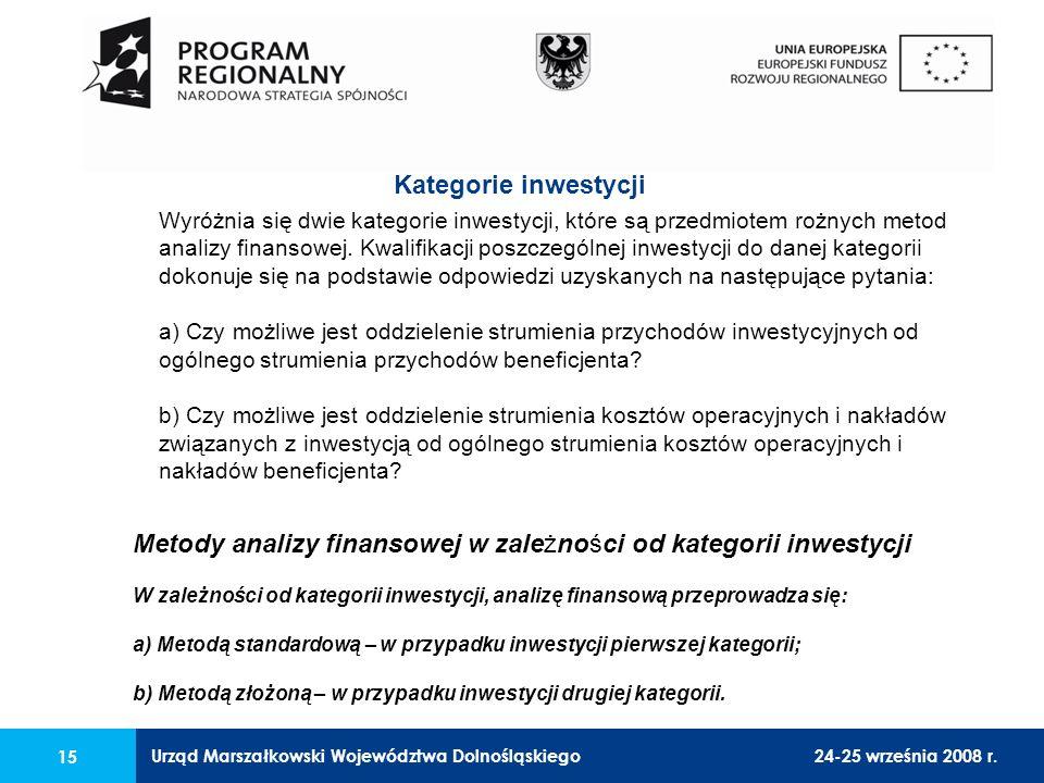 Urząd Marszałkowski Województwa Dolnośląskiego24-25 września 2008 r. 15 Wyróżnia się dwie kategorie inwestycji, które są przedmiotem rożnych metod ana