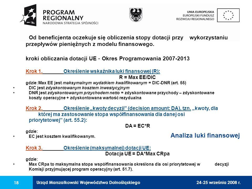 Urząd Marszałkowski Województwa Dolnośląskiego24-25 września 2008 r. 18 Od beneficjenta oczekuje się obliczenia stopy dotacji przy wykorzystaniu przep