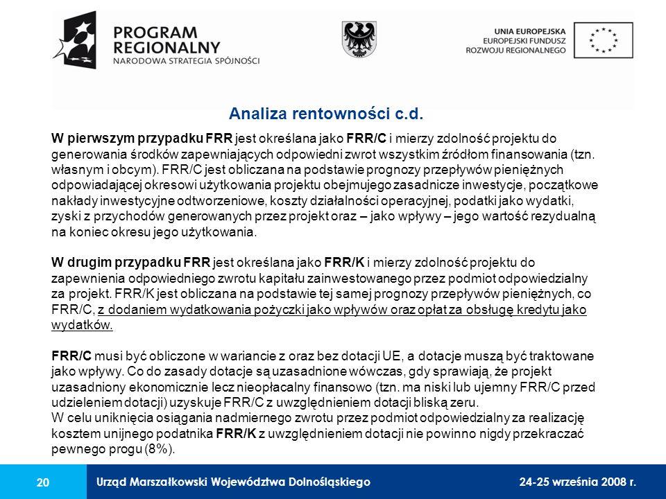Urząd Marszałkowski Województwa Dolnośląskiego24-25 września 2008 r. 20 W pierwszym przypadku FRR jest określana jako FRR/C i mierzy zdolność projektu