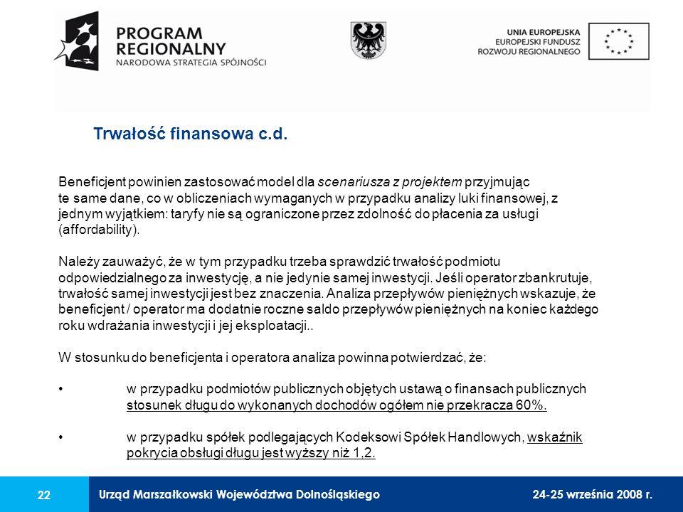 Urząd Marszałkowski Województwa Dolnośląskiego24-25 września 2008 r. 22 Trwałość finansowa c.d. Beneficjent powinien zastosować model dla scenariusza