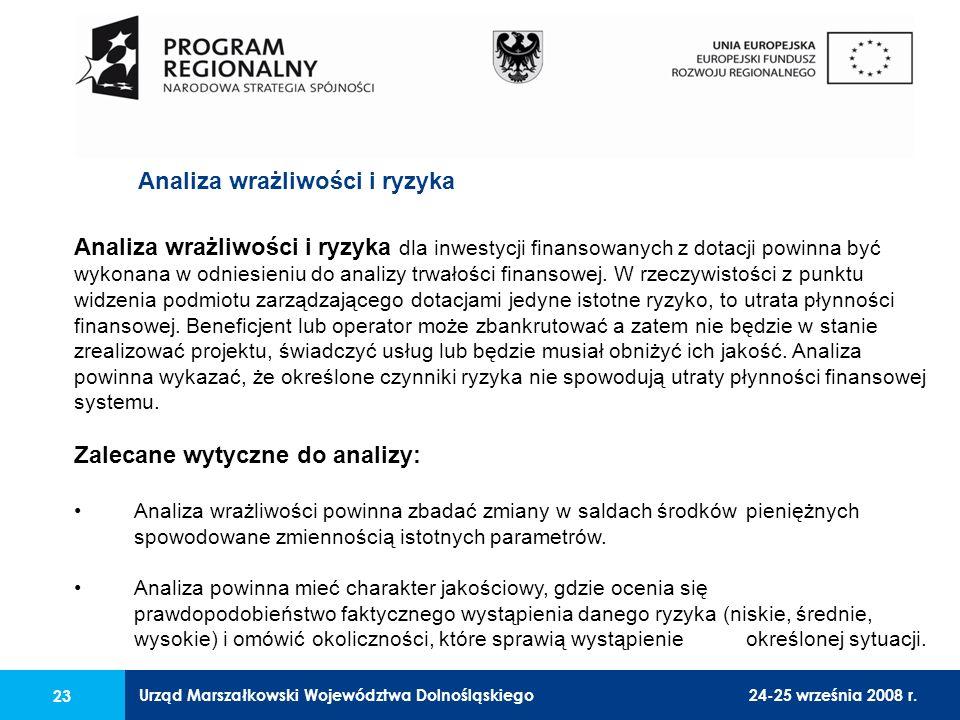 Urząd Marszałkowski Województwa Dolnośląskiego24-25 września 2008 r. 23 Analiza wrażliwości i ryzyka dla inwestycji finansowanych z dotacji powinna by