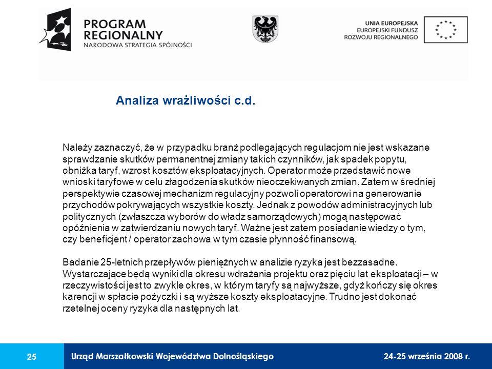 Urząd Marszałkowski Województwa Dolnośląskiego24-25 września 2008 r. 25 Należy zaznaczyć, że w przypadku branż podlegających regulacjom nie jest wskaz
