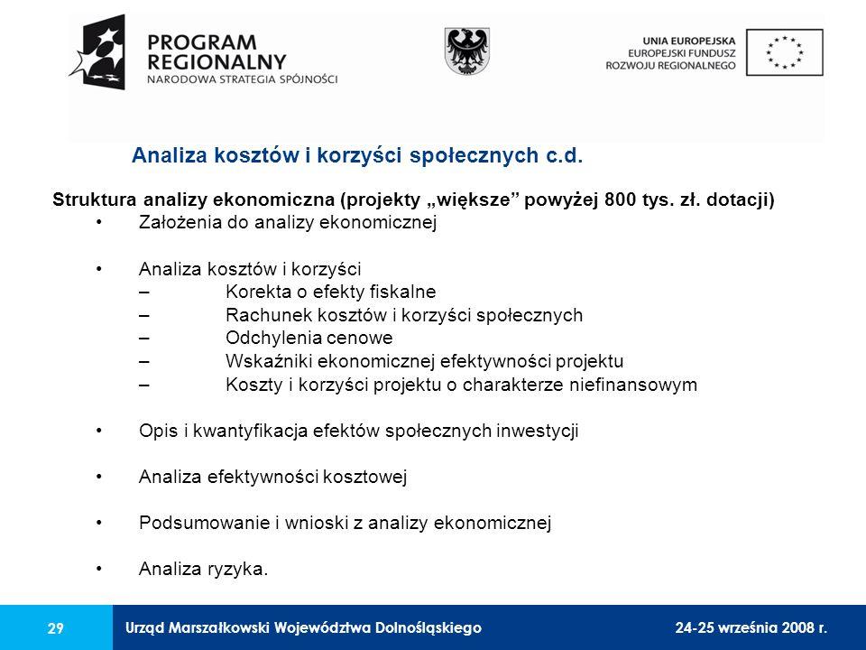 Urząd Marszałkowski Województwa Dolnośląskiego24-25 września 2008 r. 29 Struktura analizy ekonomiczna (projekty większe powyżej 800 tys. zł. dotacji)