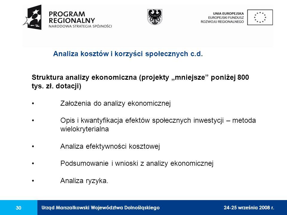 Urząd Marszałkowski Województwa Dolnośląskiego24-25 września 2008 r. 30 Struktura analizy ekonomiczna (projekty mniejsze poniżej 800 tys. zł. dotacji)