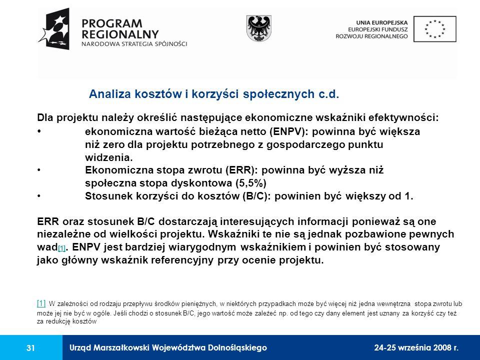 Urząd Marszałkowski Województwa Dolnośląskiego24-25 września 2008 r. 31 Dla projektu należy określić następujące ekonomiczne wskaźniki efektywności: e