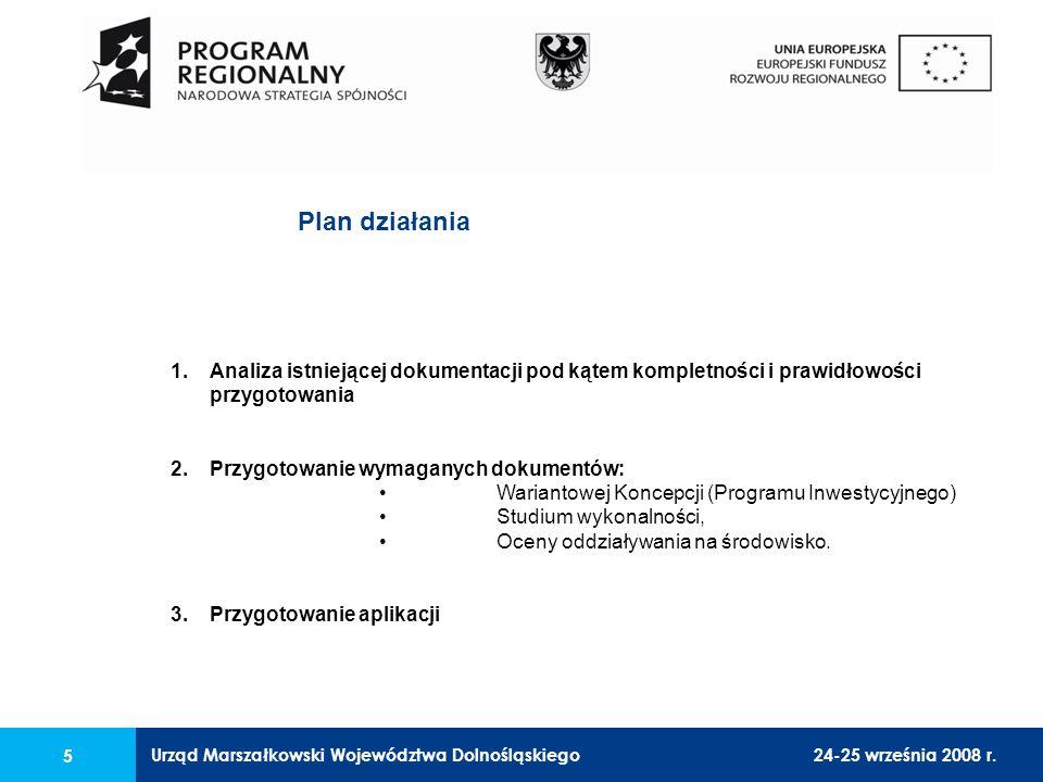 Urząd Marszałkowski Województwa Dolnośląskiego24-25 września 2008 r. 5 1.Analiza istniejącej dokumentacji pod kątem kompletności i prawidłowości przyg