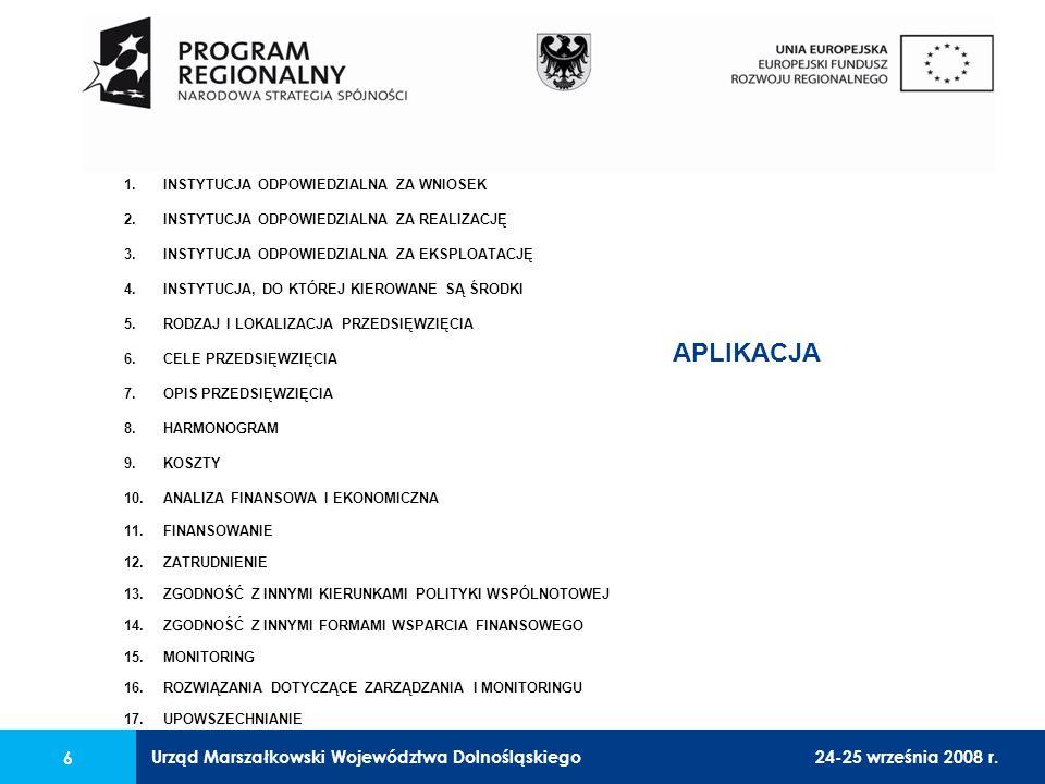 Urząd Marszałkowski Województwa Dolnośląskiego24-25 września 2008 r. 6 1.INSTYTUCJA ODPOWIEDZIALNA ZA WNIOSEK 2.INSTYTUCJA ODPOWIEDZIALNA ZA REALIZACJ