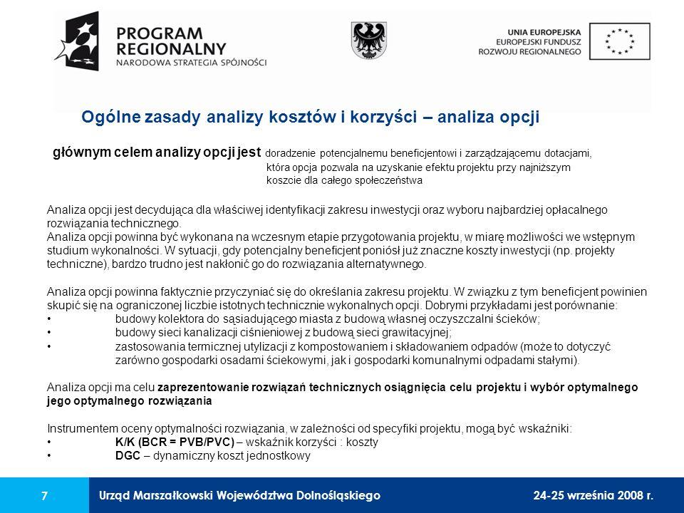 Urząd Marszałkowski Województwa Dolnośląskiego24-25 września 2008 r. 7 Ogólne zasady analizy kosztów i korzyści – analiza opcji głównym celem analizy