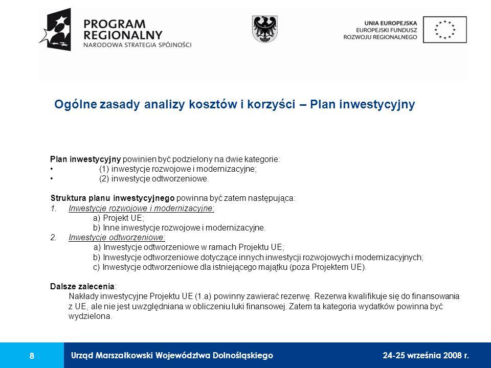 Urząd Marszałkowski Województwa Dolnośląskiego24-25 września 2008 r. 8 Ogólne zasady analizy kosztów i korzyści – Plan inwestycyjny Plan inwestycyjny