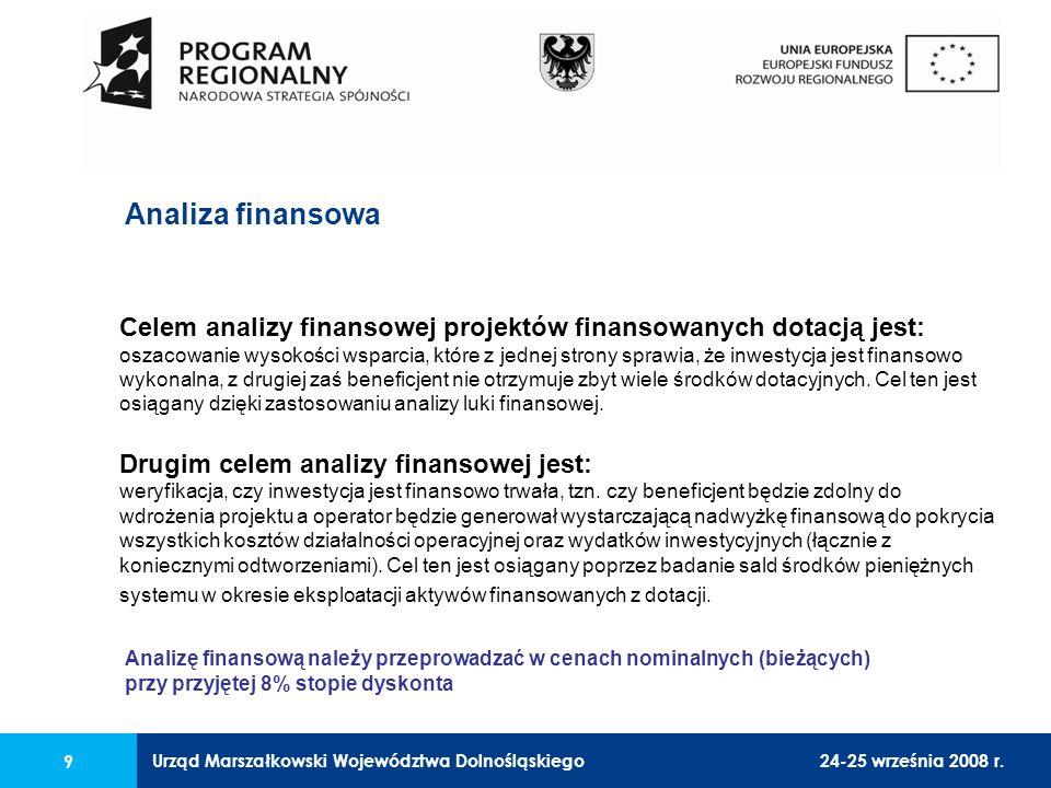 Urząd Marszałkowski Województwa Dolnośląskiego24-25 września 2008 r. 9 Analiza finansowa Celem analizy finansowej projektów finansowanych dotacją jest