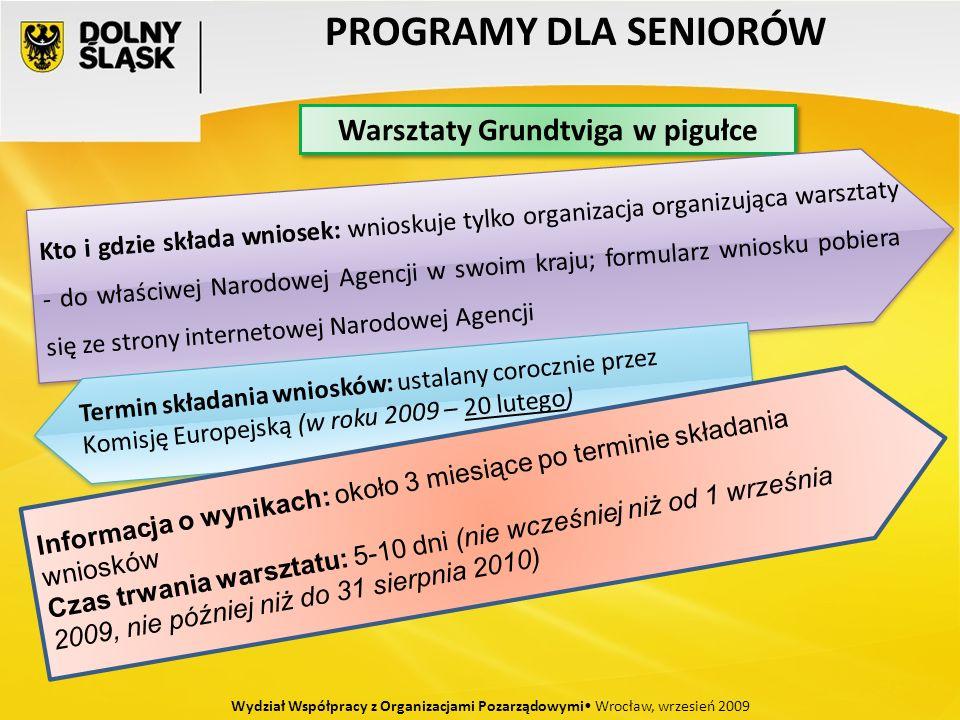 PROGRAMY DLA SENIORÓW Wydział Współpracy z Organizacjami Pozarządowymi Wrocław, wrzesień 2009 Warsztaty Grundtviga w pigułce Kto i gdzie składa wniosek: wnioskuje tylko organizacja organizująca warsztaty - do właściwej Narodowej Agencji w swoim kraju; formularz wniosku pobiera się ze strony internetowej Narodowej Agencji Termin składania wniosków: ustalany corocznie przez Komisję Europejską (w roku 2009 – 20 lutego) Informacja o wynikach: około 3 miesiące po terminie składania wniosków Czas trwania warsztatu: 5-10 dni (nie wcześniej niż od 1 września 2009, nie później niż do 31 sierpnia 2010)