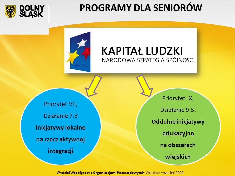 PROGRAMY DLA SENIORÓW Wydział Współpracy z Organizacjami Pozarządowymi Wrocław, wrzesień 2009 Priorytet VII, Działanie 7.3 Inicjatywy lokalne na rzecz aktywnej integracji Priorytet IX, Działanie 9.5.
