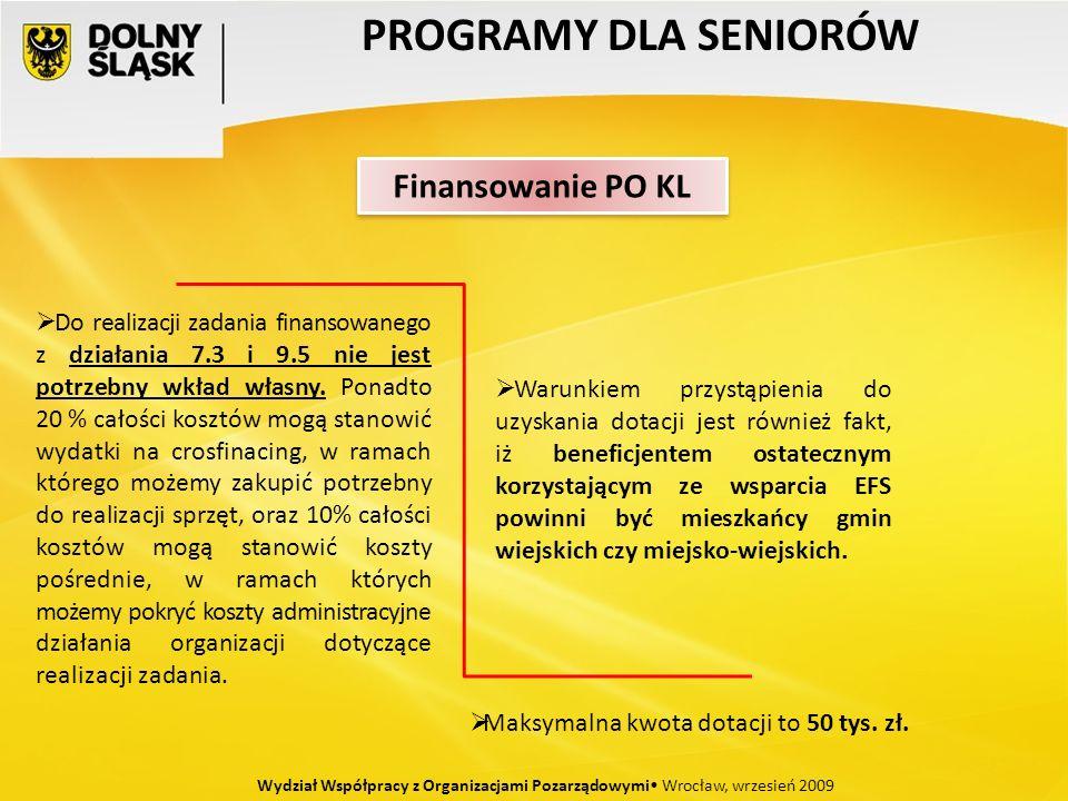 PROGRAMY DLA SENIORÓW Wydział Współpracy z Organizacjami Pozarządowymi Wrocław, wrzesień 2009 Do realizacji zadania finansowanego z działania 7.3 i 9.5 nie jest potrzebny wkład własny.