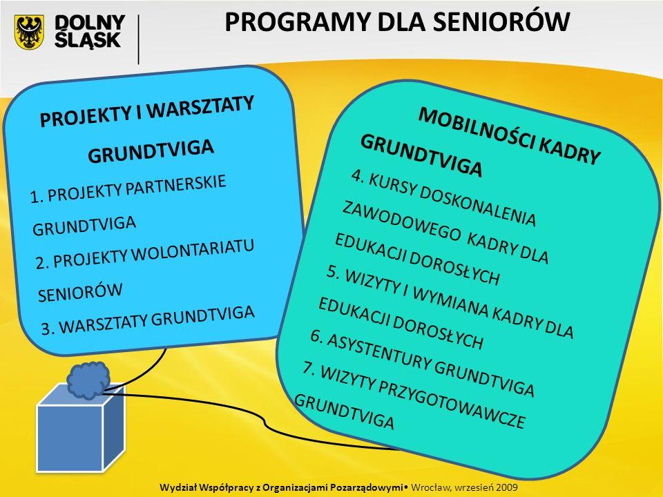 PROGRAMY DLA SENIORÓW Wydział Współpracy z Organizacjami Pozarządowymi Wrocław, wrzesień 2009 PROJEKTY I WARSZTATY GRUNDTVIGA 1. PROJEKTY PARTNERSKIE