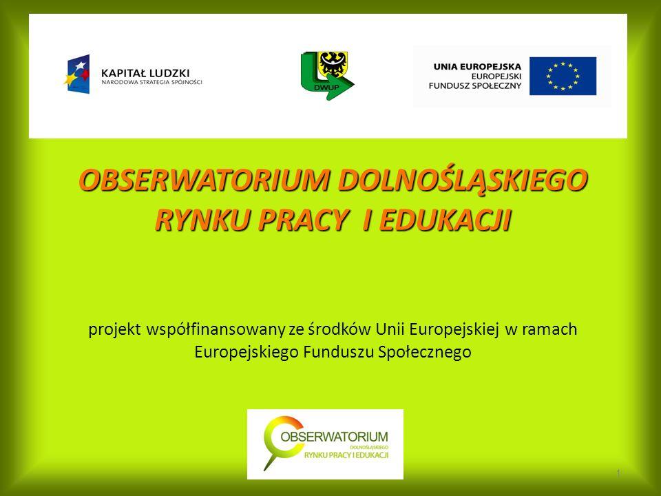 OBSERWATORIUM DOLNOŚLĄSKIEGO RYNKU PRACY I EDUKACJI OBSERWATORIUM DOLNOŚLĄSKIEGO RYNKU PRACY I EDUKACJI projekt współfinansowany ze środków Unii Europejskiej w ramach Europejskiego Funduszu Społecznego 1