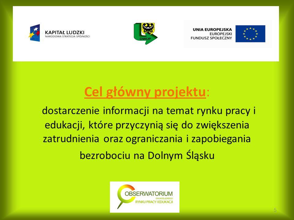 Cel główny projektu: dostarczenie informacji na temat rynku pracy i edukacji, które przyczynią się do zwiększenia zatrudnienia oraz ograniczania i zapobiegania bezrobociu na Dolnym Śląsku 5