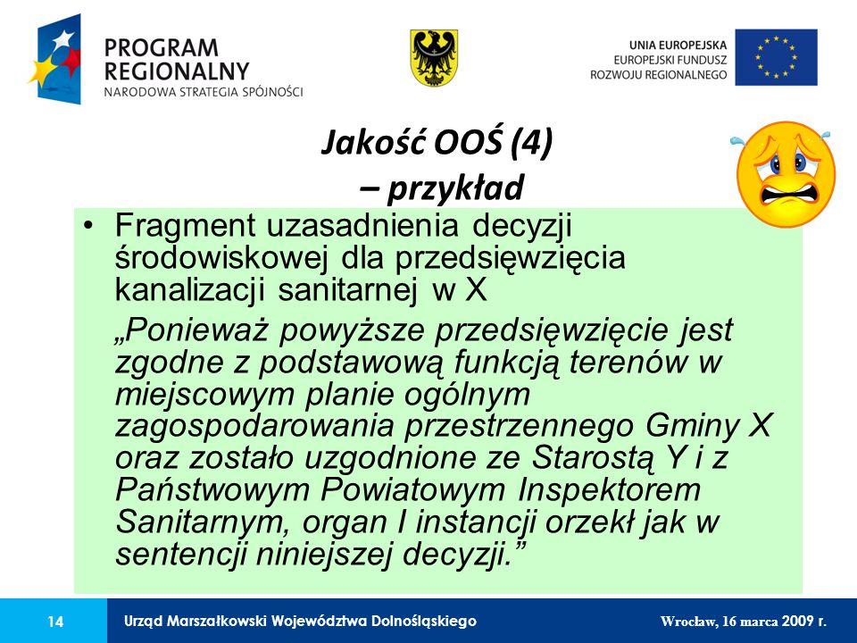14 Urząd Marszałkowski Województwa Dolnośląskiego Wrocław, 16 marca 2009 r.