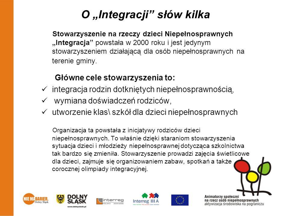 O Integracji słów kilka Stowarzyszenie na rzeczy dzieci Niepełnosprawnych Integracja powstała w 2000 roku i jest jedynym stowarzyszeniem działającą dl