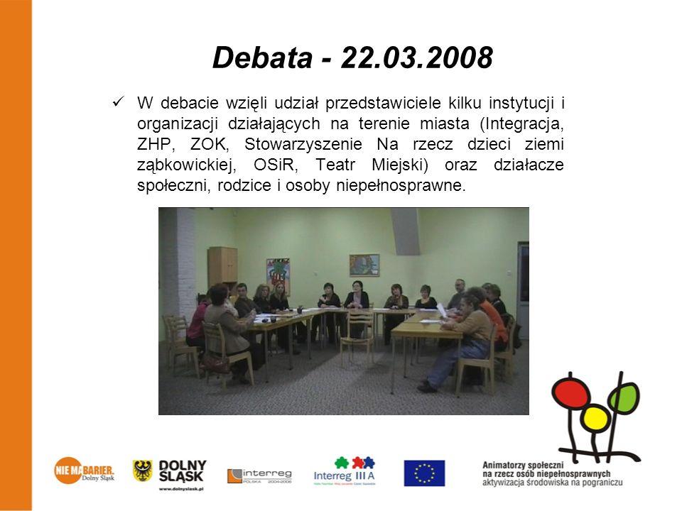 Debata - 22.03.2008 W debacie wzięli udział przedstawiciele kilku instytucji i organizacji działających na terenie miasta (Integracja, ZHP, ZOK, Stowa