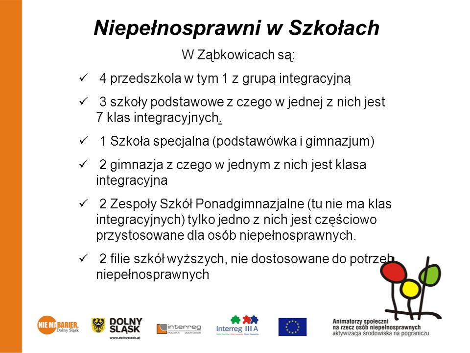 Niepełnosprawni w Szkołach W Ząbkowicach są: 4 przedszkola w tym 1 z grupą integracyjną 3 szkoły podstawowe z czego w jednej z nich jest 7 klas integr