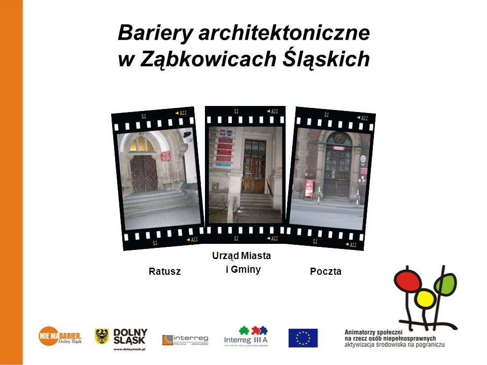 Bariery architektoniczne w Ząbkowicach Śląskich Ratusz Urząd Miasta i Gminy Poczta