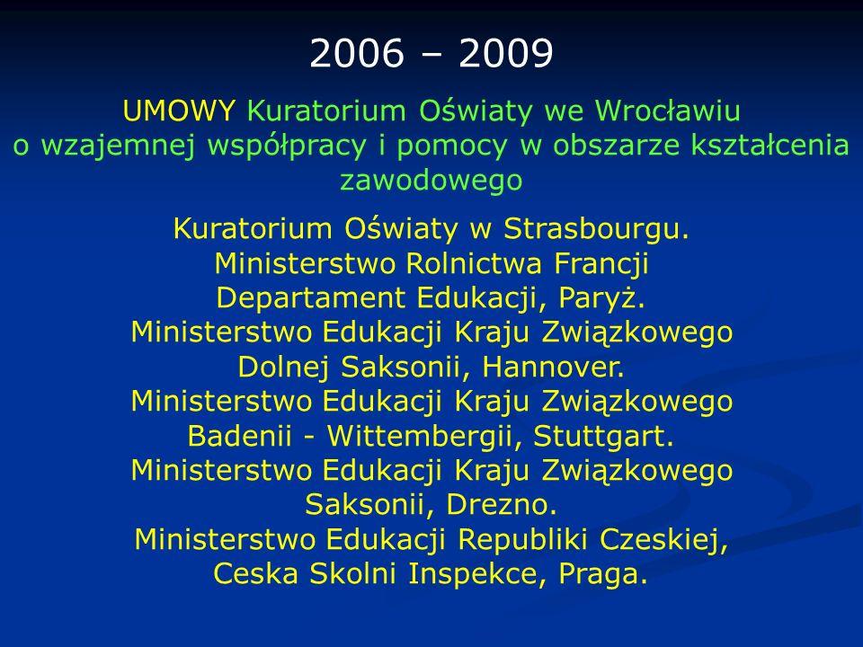 2006 – 2009 UMOWY Kuratorium Oświaty we Wrocławiu o wzajemnej współpracy i pomocy w obszarze kształcenia zawodowego Kuratorium Oświaty w Strasbourgu.
