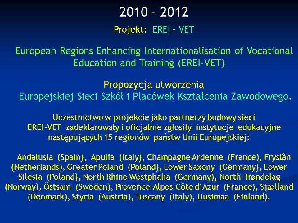 2010 – 2012 Projekt: EREI – VET European Regions Enhancing Internationalisation of Vocational Education and Training (EREI-VET) Propozycja utworzenia