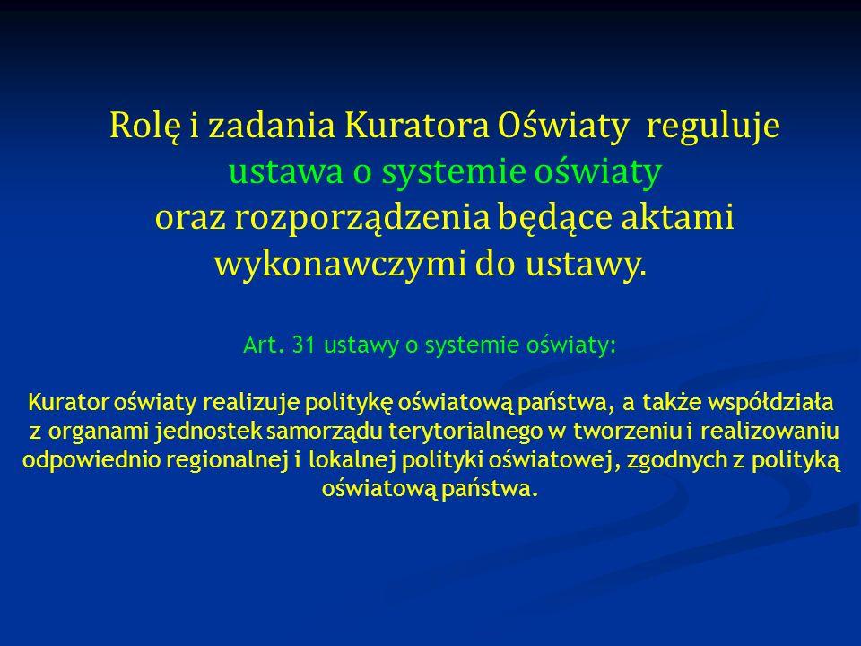 Rolę i zadania Kuratora Oświaty reguluje ustawa o systemie oświaty oraz rozporządzenia będące aktami wykonawczymi do ustawy. Art. 31 ustawy o systemie