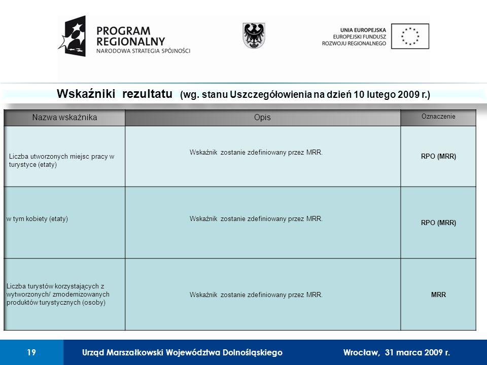 Urząd Marszałkowski Województwa Dolnośląskiego27 lutego 2008 r.19 01 Urząd Marszałkowski Województwa Dolnośląskiego19Wrocław, 31 marca 2009 r.