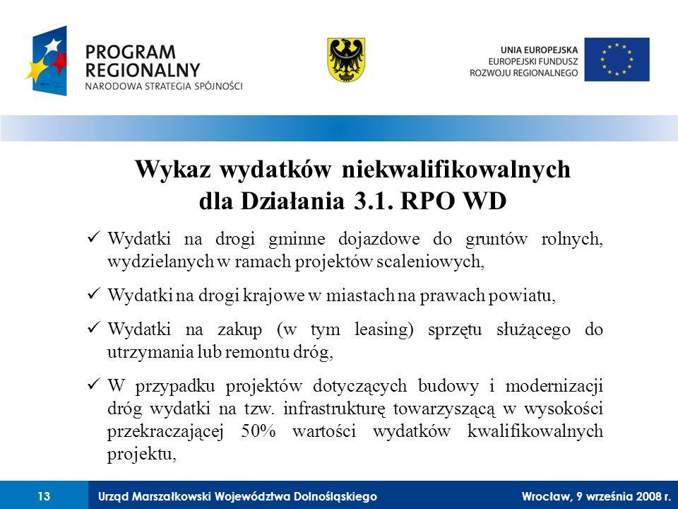 Urząd Marszałkowski Województwa Dolnośląskiego27 lutego 2008 r.13 Wykaz wydatków niekwalifikowalnych dla Działania 3.1.