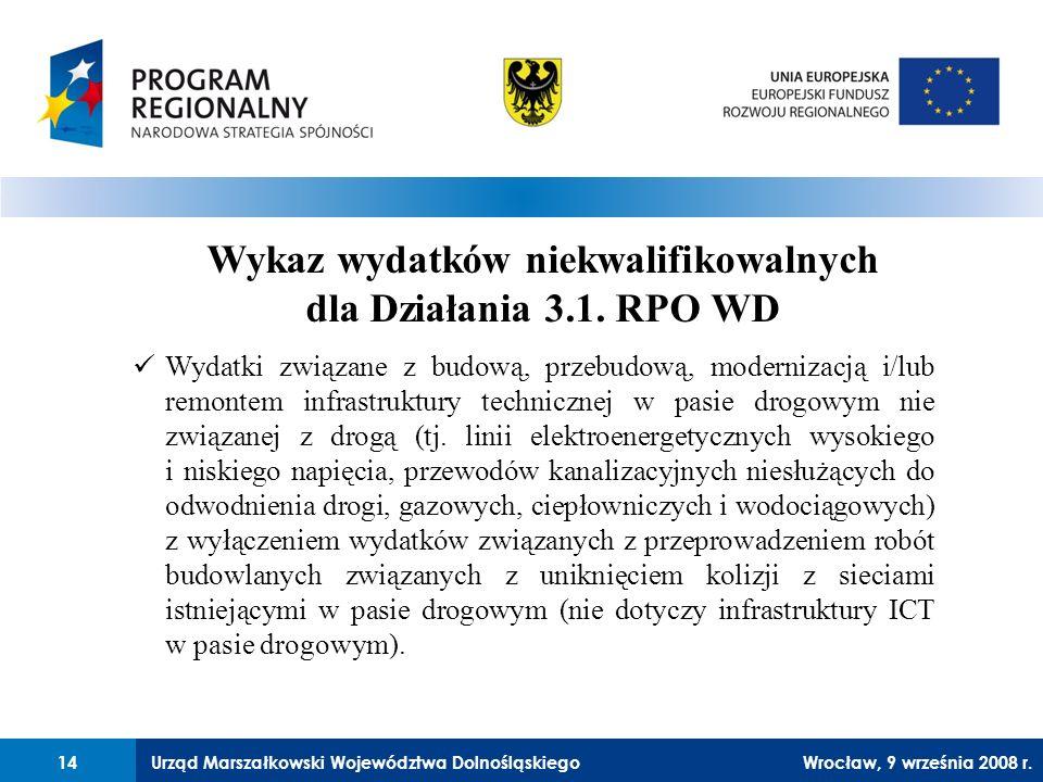Urząd Marszałkowski Województwa Dolnośląskiego27 lutego 2008 r.14 Wykaz wydatków niekwalifikowalnych dla Działania 3.1.