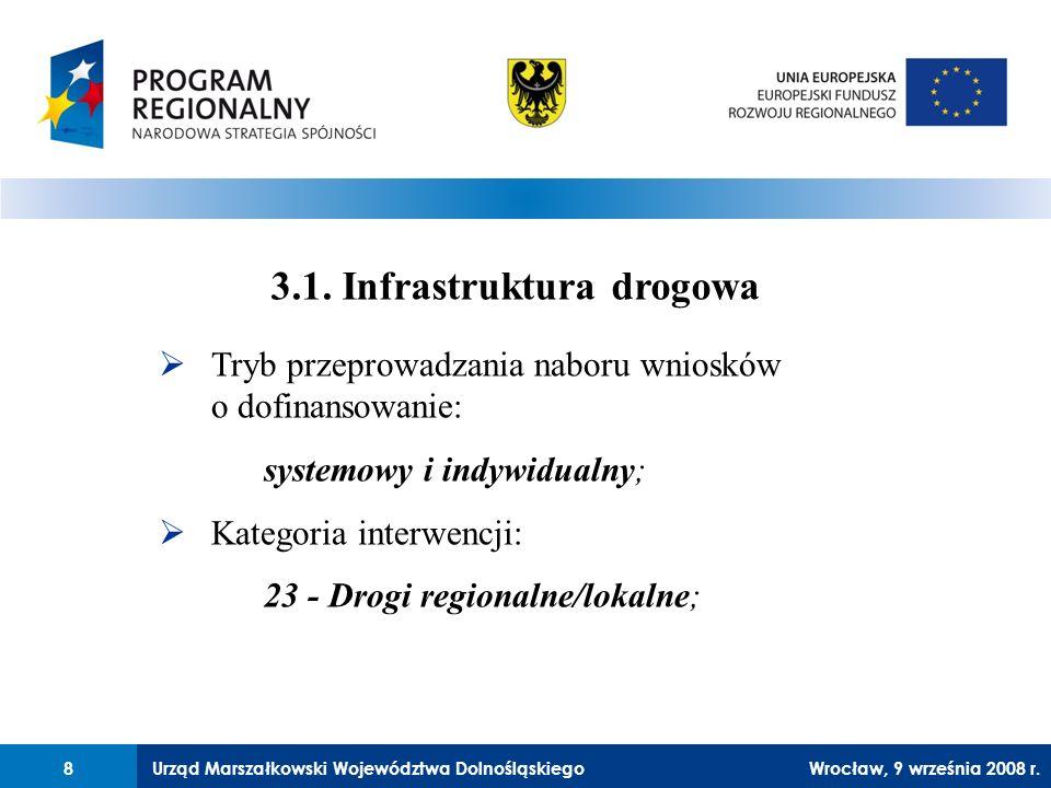 Urząd Marszałkowski Województwa Dolnośląskiego27 lutego 2008 r.8 Tryb przeprowadzania naboru wniosków o dofinansowanie: systemowy i indywidualny; Kategoria interwencji: 23 - Drogi regionalne/lokalne; 3.1.