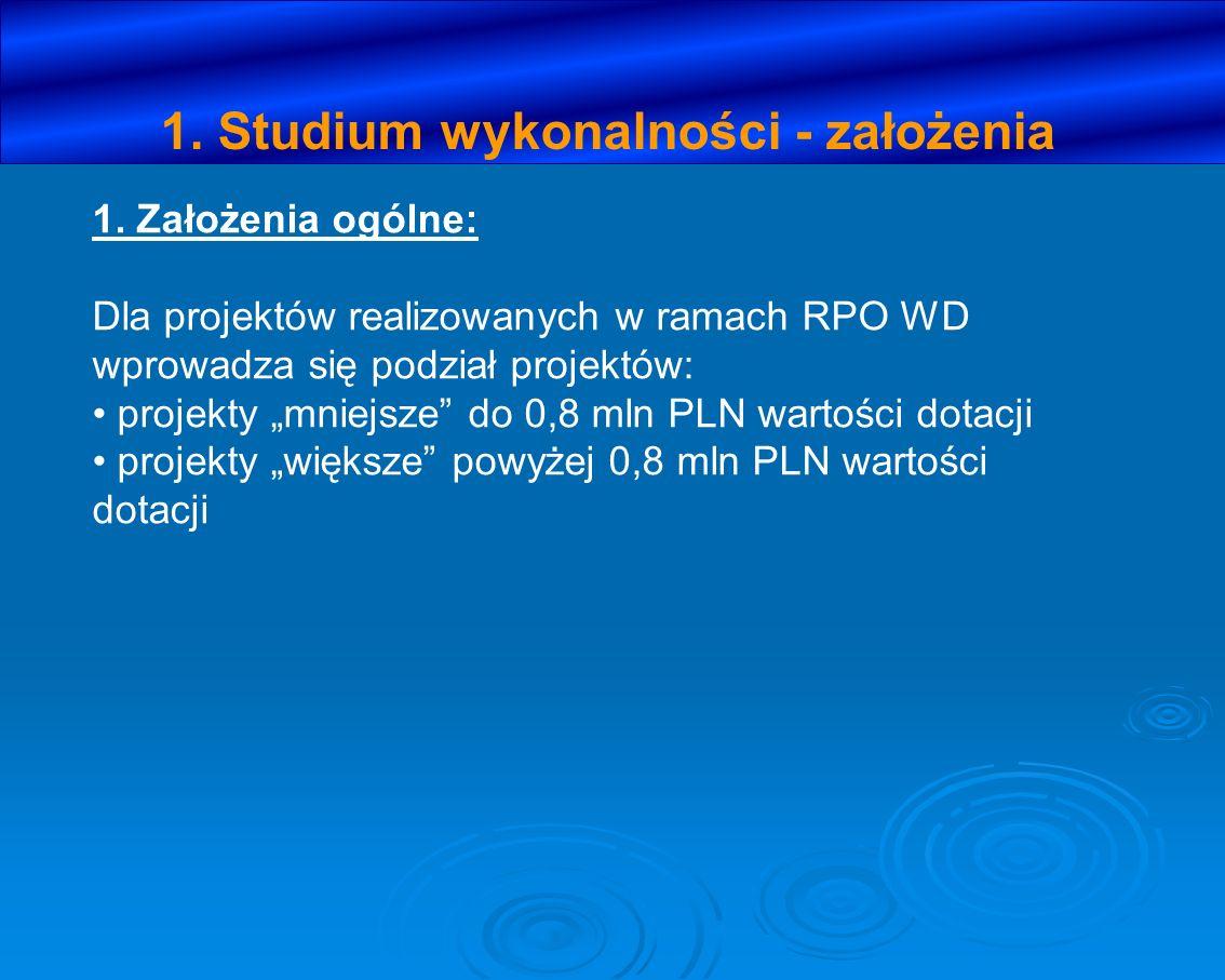 1. Studium wykonalności - założenia 1. Założenia ogólne: Dla projektów realizowanych w ramach RPO WD wprowadza się podział projektów: projekty mniejsz
