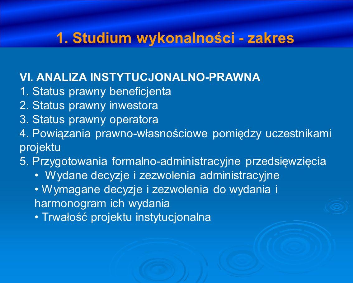1. Studium wykonalności - zakres VI. ANALIZA INSTYTUCJONALNO-PRAWNA 1. Status prawny beneficjenta 2. Status prawny inwestora 3. Status prawny operator