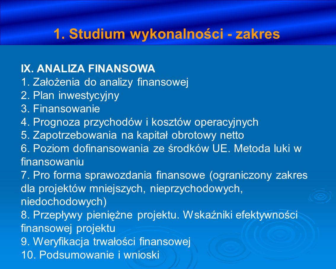 1. Studium wykonalności - zakres IX. ANALIZA FINANSOWA 1. Założenia do analizy finansowej 2. Plan inwestycyjny 3. Finansowanie 4. Prognoza przychodów