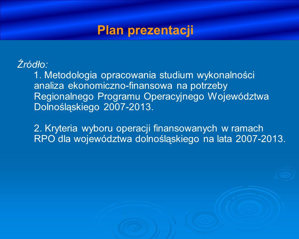 Źródło: 1. Metodologia opracowania studium wykonalności analiza ekonomiczno-finansowa na potrzeby Regionalnego Programu Operacyjnego Województwa Dolno