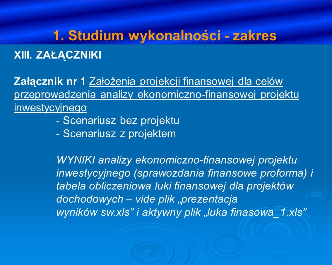 1. Studium wykonalności - zakres XIII. ZAŁĄCZNIKI Załącznik nr 1 Założenia projekcji finansowej dla celów przeprowadzenia analizy ekonomiczno-finansow