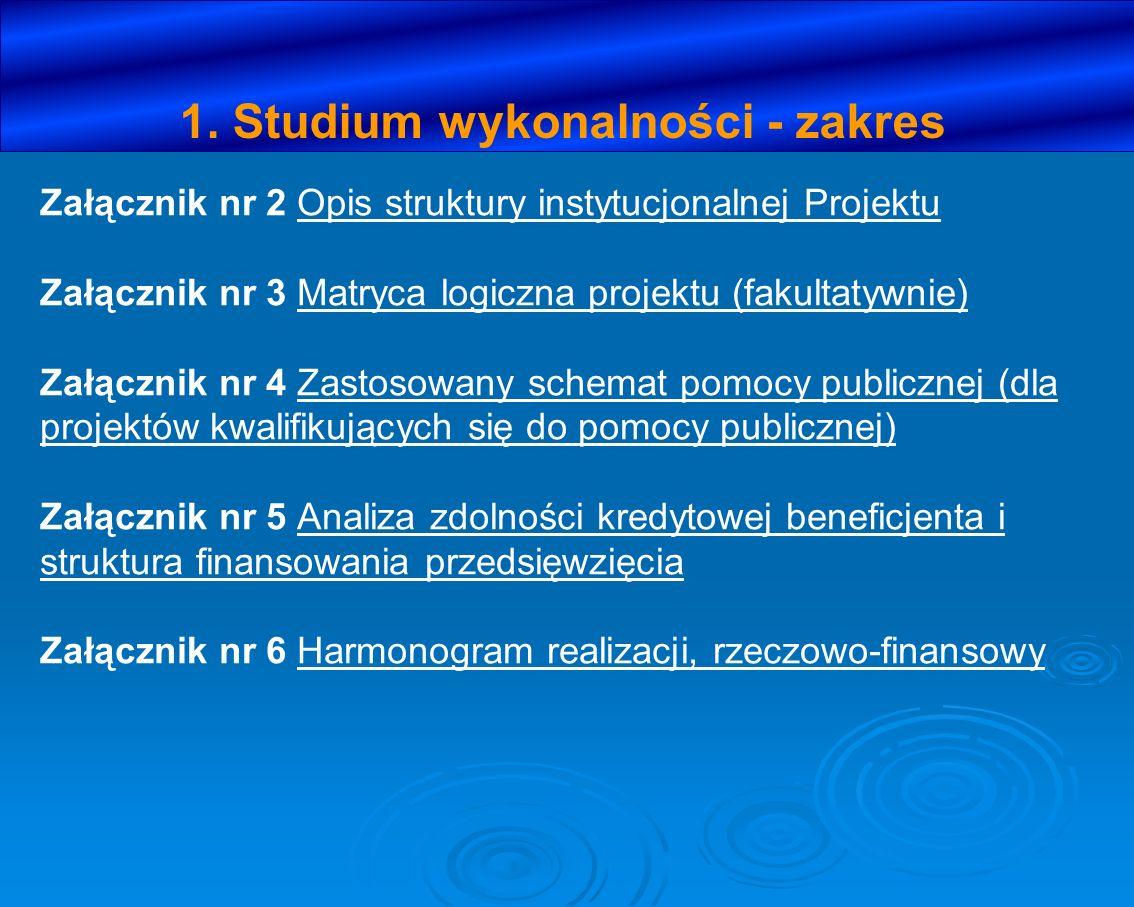 1. Studium wykonalności - zakres Załącznik nr 2 Opis struktury instytucjonalnej Projektu Załącznik nr 3 Matryca logiczna projektu (fakultatywnie) Załą