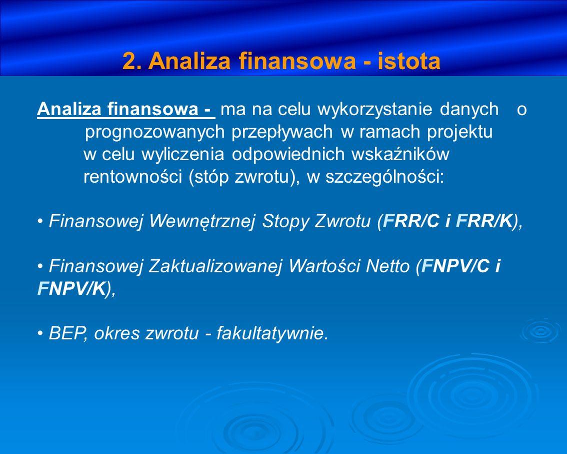2. Analiza finansowa - istota Analiza finansowa - ma na celu wykorzystanie danych o prognozowanych przepływach w ramach projektu w celu wyliczenia odp