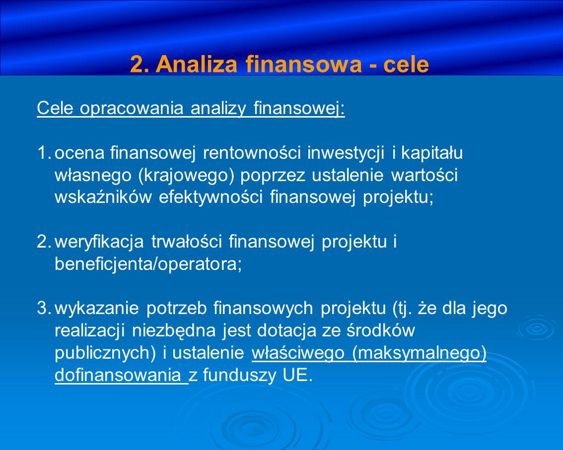 2. Analiza finansowa - cele Cele opracowania analizy finansowej: 1.ocena finansowej rentowności inwestycji i kapitału własnego (krajowego) poprzez ust
