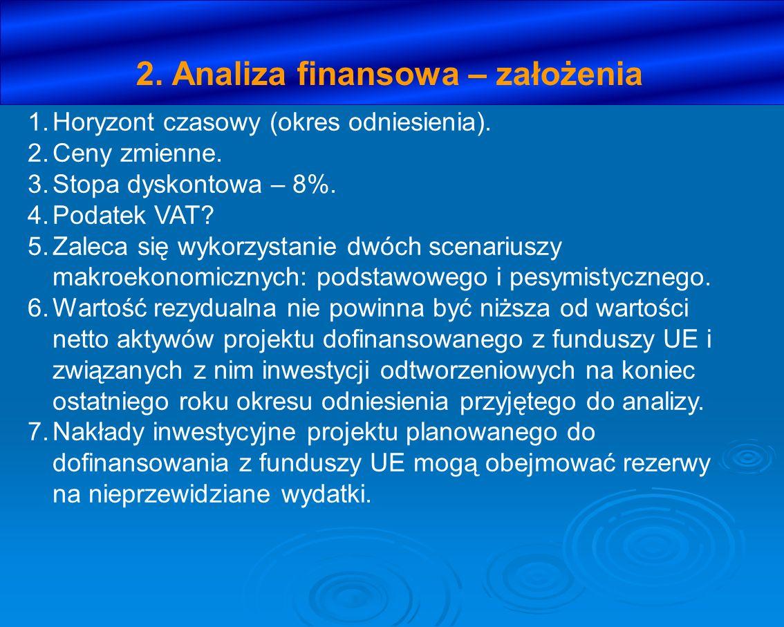 2. Analiza finansowa – założenia 1.Horyzont czasowy (okres odniesienia). 2.Ceny zmienne. 3.Stopa dyskontowa – 8%. 4.Podatek VAT? 5.Zaleca się wykorzys