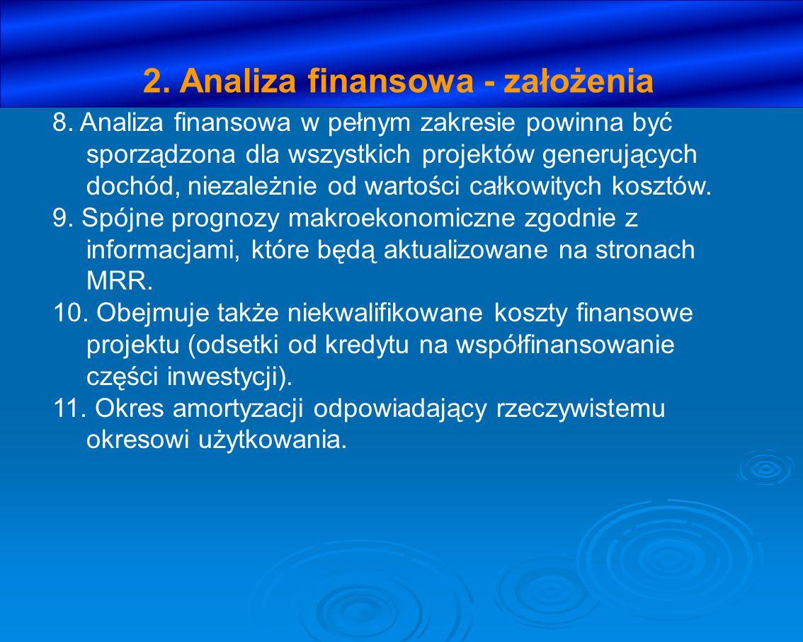 2. Analiza finansowa - założenia 8. Analiza finansowa w pełnym zakresie powinna być sporządzona dla wszystkich projektów generujących dochód, niezależ