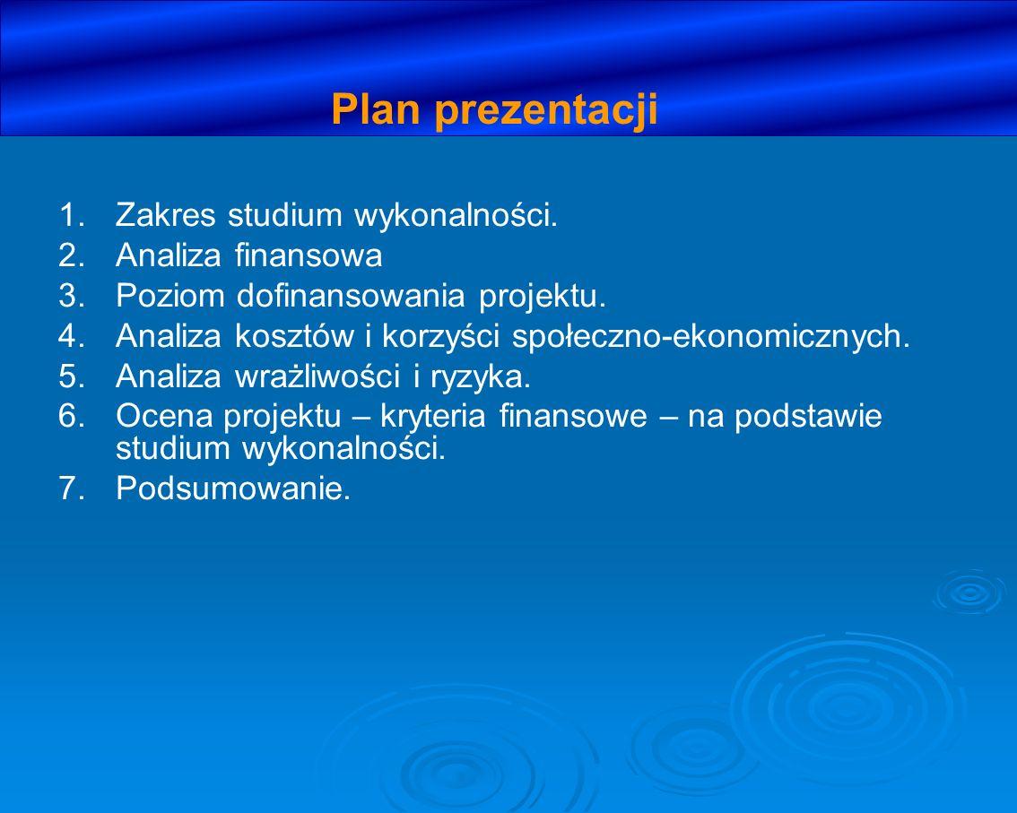 1. 1.Zakres studium wykonalności. 2. 2.Analiza finansowa 3. 3.Poziom dofinansowania projektu. 4. 4.Analiza kosztów i korzyści społeczno-ekonomicznych.