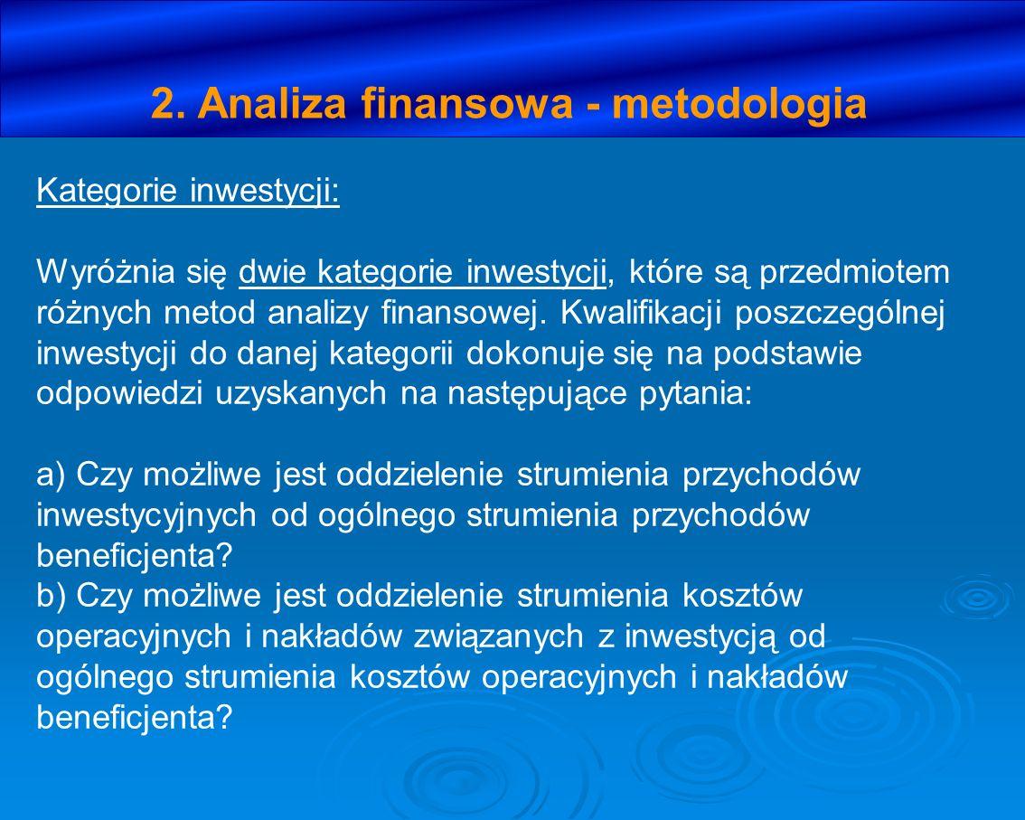 2. Analiza finansowa - metodologia Kategorie inwestycji: Wyróżnia się dwie kategorie inwestycji, które są przedmiotem różnych metod analizy finansowej