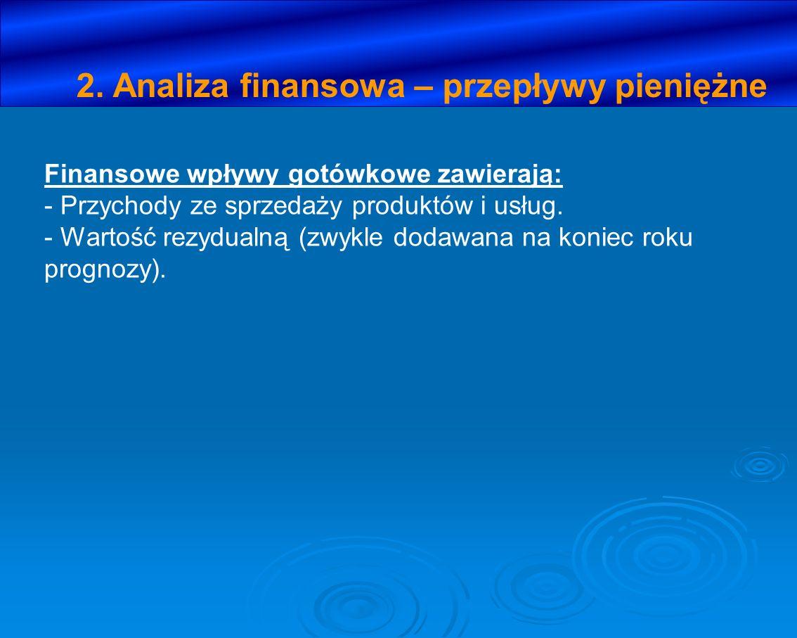 2. Analiza finansowa – przepływy pieniężne Finansowe wpływy gotówkowe zawierają: - Przychody ze sprzedaży produktów i usług. - Wartość rezydualną (zwy