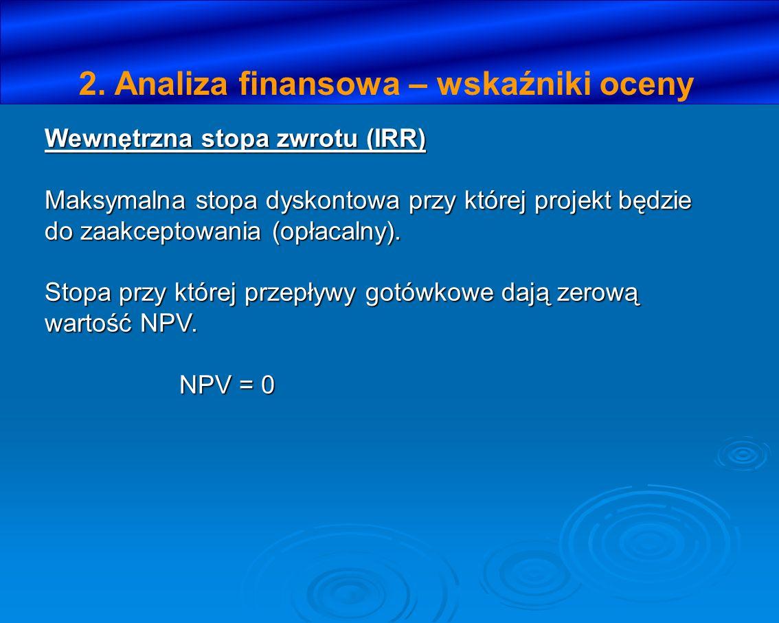 Wewnętrzna stopa zwrotu (IRR) Maksymalna stopa dyskontowa przy której projekt będzie do zaakceptowania (opłacalny). Stopa przy której przepływy gotówk
