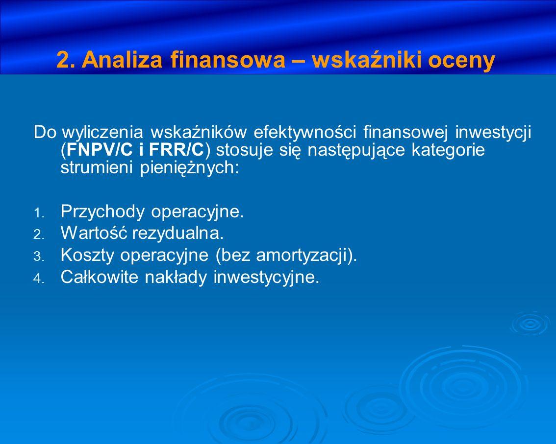 2. Analiza finansowa – wskaźniki oceny Do wyliczenia wskaźników efektywności finansowej inwestycji (FNPV/C i FRR/C) stosuje się następujące kategorie
