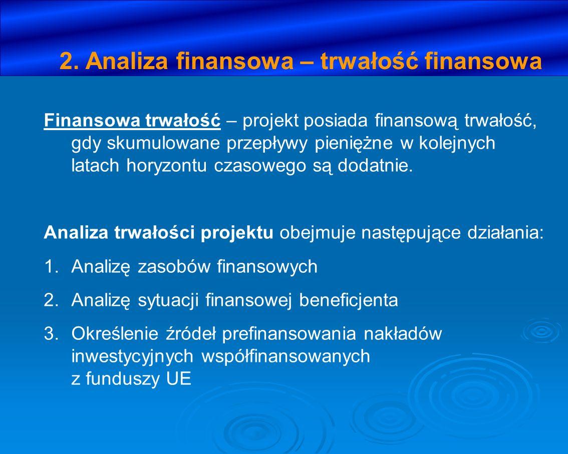 2. Analiza finansowa – trwałość finansowa Finansowa trwałość – projekt posiada finansową trwałość, gdy skumulowane przepływy pieniężne w kolejnych lat
