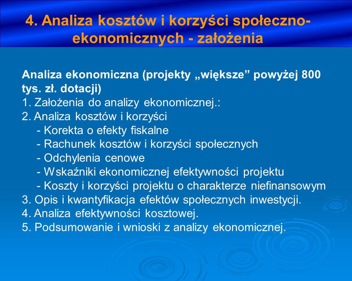 4. Analiza kosztów i korzyści społeczno- ekonomicznych - założenia Analiza ekonomiczna (projekty większe powyżej 800 tys. zł. dotacji) 1. Założenia do