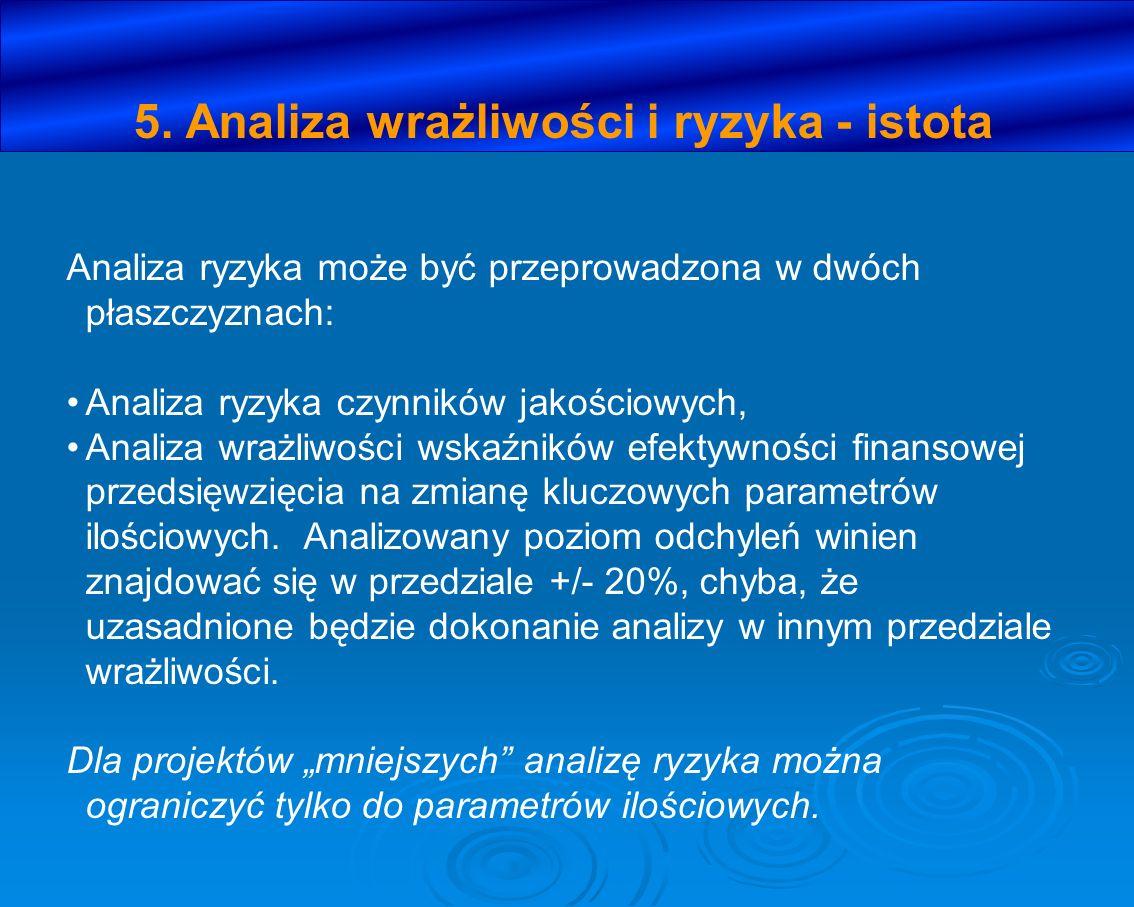 5. Analiza wrażliwości i ryzyka - istota Analiza ryzyka może być przeprowadzona w dwóch płaszczyznach: Analiza ryzyka czynników jakościowych, Analiza